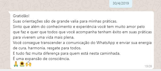 Relato de Márcia C. L. pelo WhatsApp em 30042019